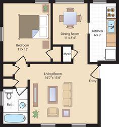 one bedroom one bath floor plans | Hyattsville, MD Apartment Floor Plans