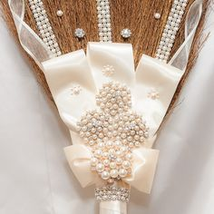 Blinged out Rhinestone Wedding Jumping Broom custom - Made with Ivory pearls and rhinestones