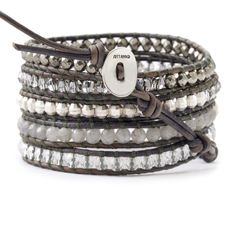 The wrap bracelet seems to never go out of style. Chan Luu - Labradorite and Crystal Wrap Bracelet on Natural Grey Leather.