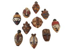 Ceramic African Heads, S/10