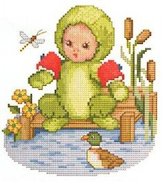 Frog Baby Cross Stitch Pattern
