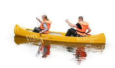 two cut out people riding a kayak