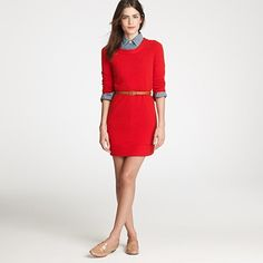 loving this preppy dress look (Cashmere tee dress from J. Crew)