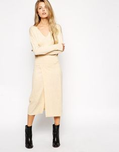 ASOS Knitted Midi Dress With Thigh Split.