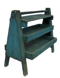 Y333  Late 19th century Pennslyvania, Farrier tool carrier. with wonderful blue paint very unusual form, with two trays and a small shelf , ...