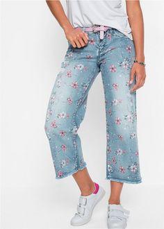Blugi Culotte albastru prespălat O • 139.9 lei • bonprix Mom Jeans, Harem Pants, Capri Pants, Farmer, Bikini, Costume, Womens Fashion, Style, Products