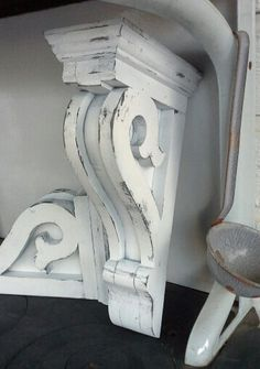 Vintage Carved Wooden Corbels Architectural Shelf Brackets