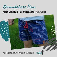 Diese Bermudahose ist einfach und schnell genäht. Mit dabei eine Variante für Windel. Gym Men, Fashion, Sewing Patterns, Guys, Tutorials, Trousers, Kleding, Simple, Moda