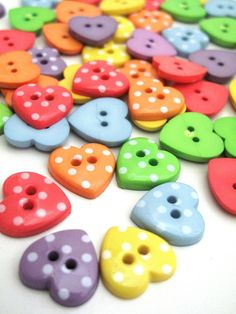 Button HEARTS in Pretty Polka Dots