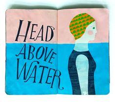Head Above Water - sketchbook spread by Lisa Congdon