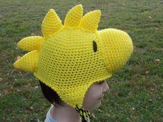 Crochet Yellow Bird Woodstock Inspired Hat, Beanie, Stocking Cap with Ear Flaps - Peanuts Hand Crochet, Crochet Hooks, Crochet Baby, Irish Crochet, Free Crochet, Crochet Pattern, Ear Hats, Beanie Hats, Woodstock Costume