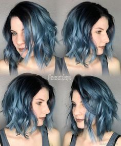 79 Dark Blue Hair Color For Ombre Teal Are you looking for dark blue hair color for ombre and teal? See our collection full of dark blue hair color for ombre and teal and get inspired! Short Blue Hair, Dark Blue Hair, Ombre Hair Color, Short Hair Cuts, Short Hair Styles, Smokey Blue Hair, Blue Lob, Blue Hombre Hair, Black Colored Hair