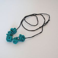 Organic Textile Jewelry-KNOTS Necklace-Wearable Art-Long Adjustable Necklace-Emerald Shantung Necklace-Summer Necklace-Handmade Jewellery