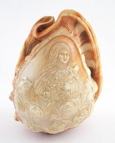 Antique Italian Carved Cameo Conch Shell, Saint Theresa with Cross & Roses, early 20th century