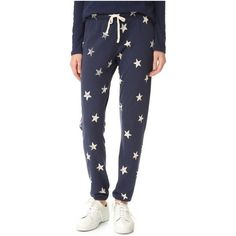 Splendid Ashbury Star Sweatpants (£105) ❤ liked on Polyvore featuring activewear, activewear pants, ink, splendid sweatpants, tapered sweatpants, sweat pants, elastic cuff sweatpants and star sweatpants