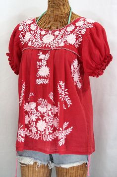"The Tomato Red ""La Mariposa Corta"" Embroidered Mexican Blouse by Siren, $44.95."