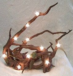 Drift wood lamp with tree lights! Easy, and cute :)