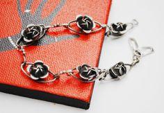 Sterling Flower Repousse Link Bracelet  by serendipitytreasure