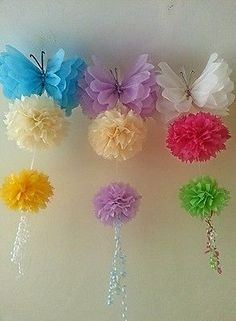 wedding party butterfly decorations tissue paper pompoms Garlands pom poms