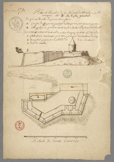 Plan B de la Redoute du Moulin (Parc Cavalier du Moulin) par Josué Dubois Berthelot De Beaucourt en 1710 - Archéologie - Ville de Québec