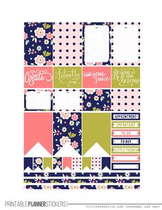 Midnight Garden Free Printable Planner stickers for the classic size Happy Planner.  Includes 2 full pages of planner stickers.