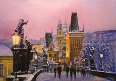 Prague Charles Bridge Winter Evening, Yuriy Shevchuk