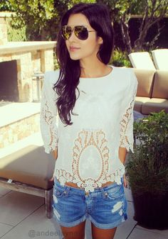 Floral White Cut Out Top - Cute Floral Blouse