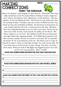 Making Connections - Reading Worksheet Close Reading, Guided Reading, Teaching Reading, Teaching Ideas, Text To Text Connections, Making Connections, Reading Lessons, Reading Strategies, Reading Passages