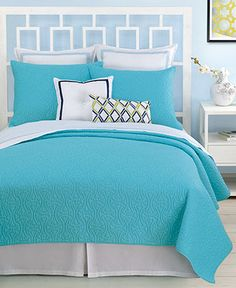 Trina Turk Bedding, Santorini Turquoise Full/Queen Coverlet - Quilts & Bedspreads - Bed & Bath - Macy's