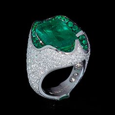 White gold, Emerald 12,82 ct., Diamonds, Emeralds Item no: R0056-0/1