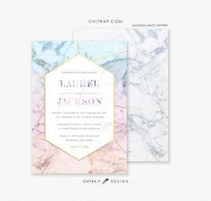 Items similar to Marble Wedding Invitations - Printed, Agate Gold Azure Blue Blush Geometric Rose Quartz Precious Stone Gemstone Modern Serenity Jade on Etsy Pastel Wedding Invitations, Quince Invitations, Elegant Wedding Invitations, Wedding Invitation Cards, Wedding Stationery, Wedding Cards, Communion, Geometric Wedding, Wedding Paper