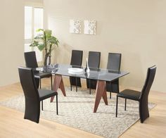 Exclusive Vision Walnut and Glass Dining Set - with Cassia Chairs