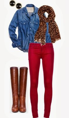 Denim jacket, cheetah style scarf, red pants and long brown boots for fall