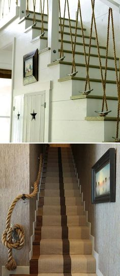 Transform your boring staircase railing with rope.