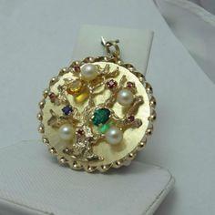 14k Yellow Gold Extra Large Tree of Life with Gemstones Charm Pendant 14 9gr | eBay..