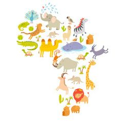African mammal map silhouettes. Isolated on white background vector illustration. Colorful cartoon illustration for children, kids and oher people. Preschool, education