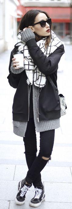 #fall #fashion / casual black & white