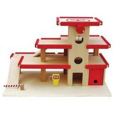 Houten Garage met lift 3-verd. groot incl. benzinepomp - babyspeeloged webshop
