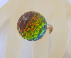 Disco Ball Ring Rainbow Prism Adjustable by GrapenutGlitzJewelry