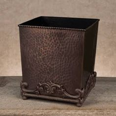 GG Antique Copper Hammered Metal Wastebasket