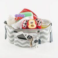 Elektra Thermo Insulated Pram / Stroller Organiser - Grey Chevron  www.mamadoo.com.au #mamadoo #prams #strollers #accessories