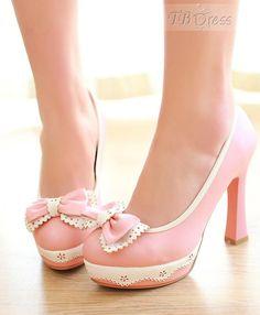 Lovely Pink PU Platform Upper Stiletto Heel Pumps $46.79