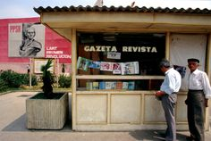 A newspaper stand in Albania, Enver Hoxha, Newspaper Stand, Socialist State, Warsaw Pact, Socialist Realism, Central And Eastern Europe, Magnum Photos, Russia, Archive