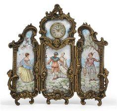 A Neo-Rococo enamel miniature table clock, from Vienna