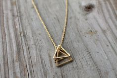 Gold Triangle Stack Necklace – Gold Filled Triangle Necklace – Gold Geometric Pendant Necklace – A beautiful 3 triangle. Diamond Necklace Simple, Gold Jewelry Simple, Diamond Pendant Necklace, Pearl Pendant, Ball Necklace, Diamond Necklaces, Lariat Necklace, Triangle Necklace, Geometric Necklace