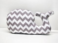 ahh... cute pillow for our grey recliner we ordered from buy buy baby. Modern Chevron Whale Pillow plush whale, for baby nursery or any Nautical themed room, gray grey white. $28.00, via Etsy.