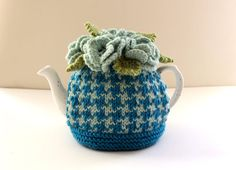 Thurso Houndstooth Hand-knitted Floral Tea by taffertydesigns