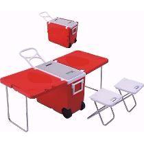 Cooler Caixa Térmica Dobrável E Mesa Com Rodas Alça 2 Bancos