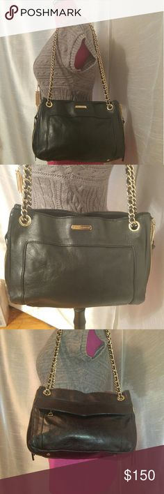 🔥Rebecca Minkoff Black Leather & Gold Swing Bag🔥 *Open to All TYPES Of Offers*  This bag is HOT!! Exterior is in GREAT shape, barely a scuff! Interior is in GUC, except for 2 areas that need cleaning. (You don't HAVE TO clean them, as they are very hidden.) There's an area, on the inside pocket, under the zipper, & a silver dollar sized spot IN the outside zipper pocket. (see pics) The hardware/strap are GORG! Open the gusset side zippers to expand your interior space. The extra zippers…