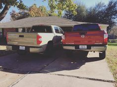A day for the history books. Two of my favorite trucks in my driveway at the same time. #trucksofinstagram #offroad #offroadlife #pickups #trucks #dreamtruck #toyota #tundra #tundranation #tundraoffroad #trdpro #4wd #4x4 #titan #nissan #pro4x